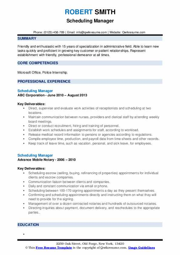Scheduling Manager Resume example