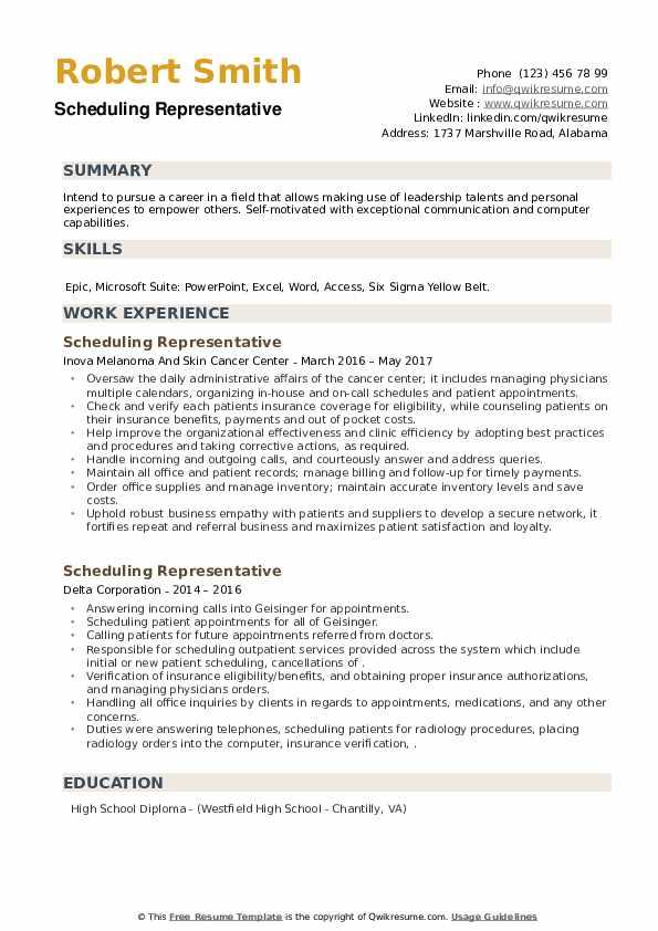 Scheduling Representative Resume example