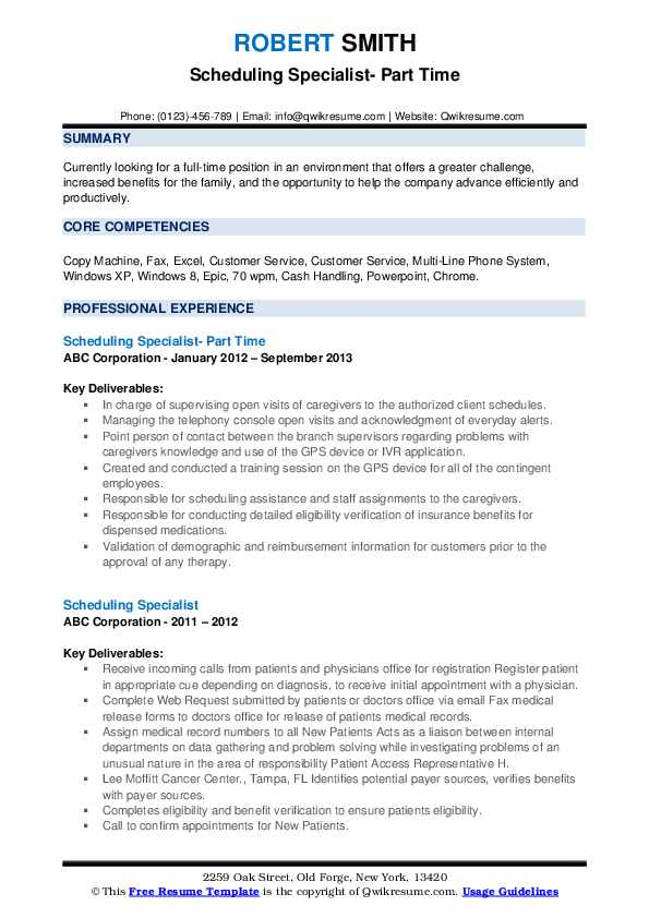 Scheduling Specialist- Part Time Resume Template