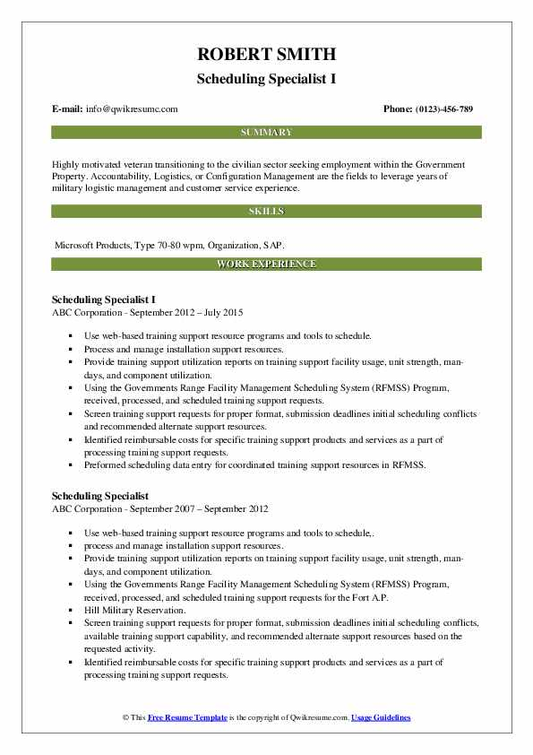 Scheduling Specialist I Resume Template