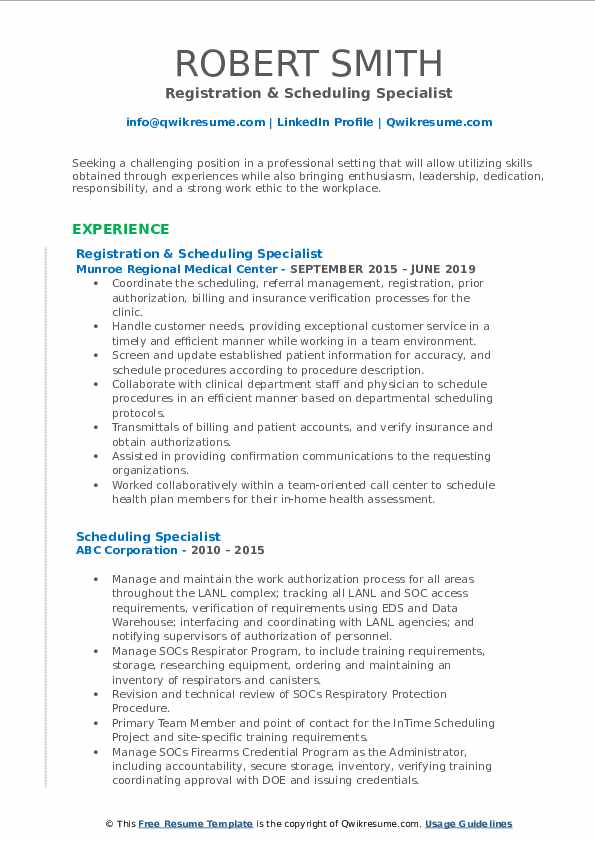 Registration & Scheduling Specialist Resume Model