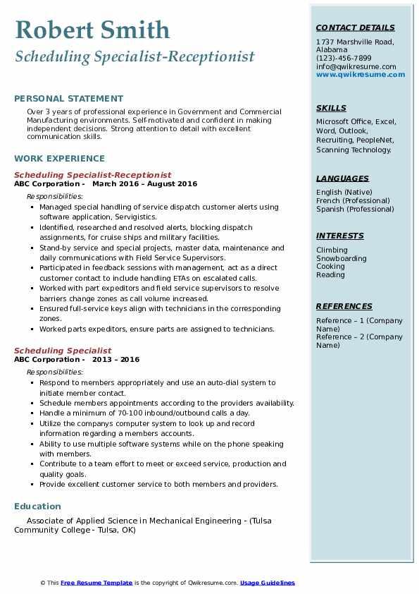 Scheduling Specialist-Receptionist Resume Sample