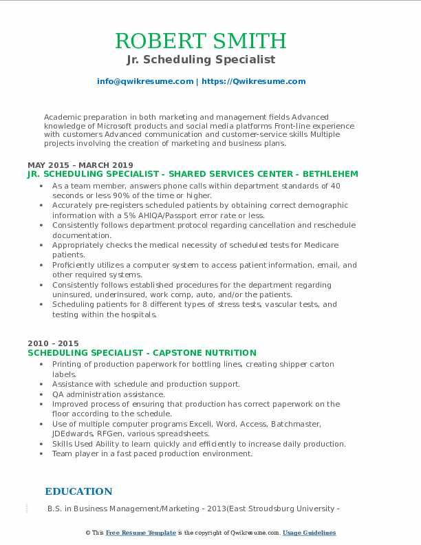 Jr. Scheduling Specialist Resume Example
