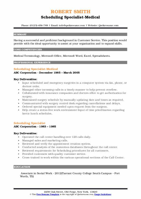 Scheduling Specialist-Medical Resume Example