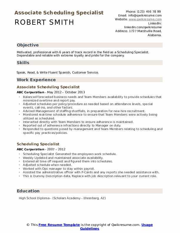 Associate Scheduling Specialist Resume Format