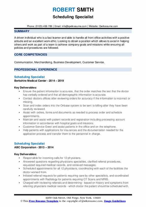 Scheduling Specialist Resume example