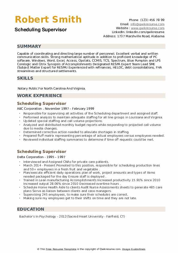 Scheduling Supervisor Resume example