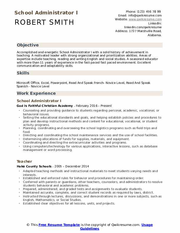 School Administrator Resume Samples Qwikresume