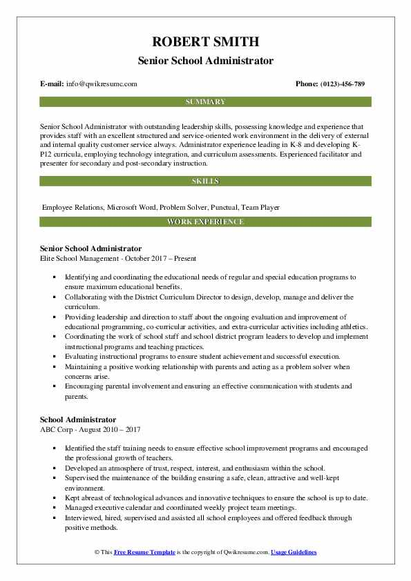 Senior School Administrator Resume Template
