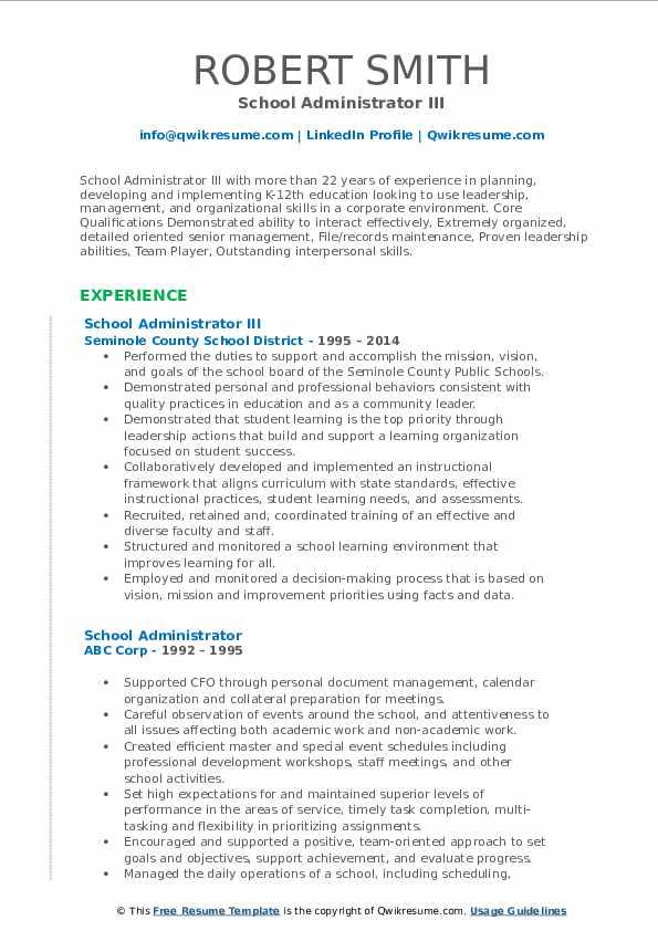 School Administrator III Resume Example