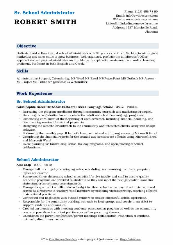 Sr. School Administrator Resume Template