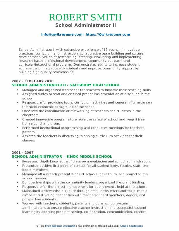 School Administrator II Resume Format
