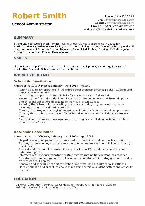 school administrator resume samples