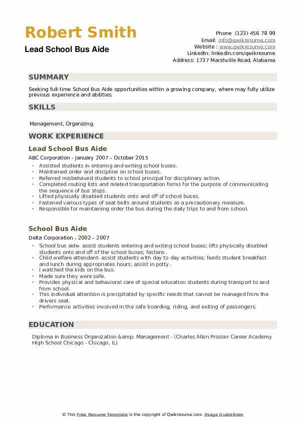 School Bus Aide Resume example