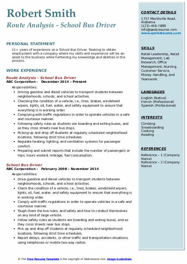 Route Analysis - School Bus Driver Resume Format