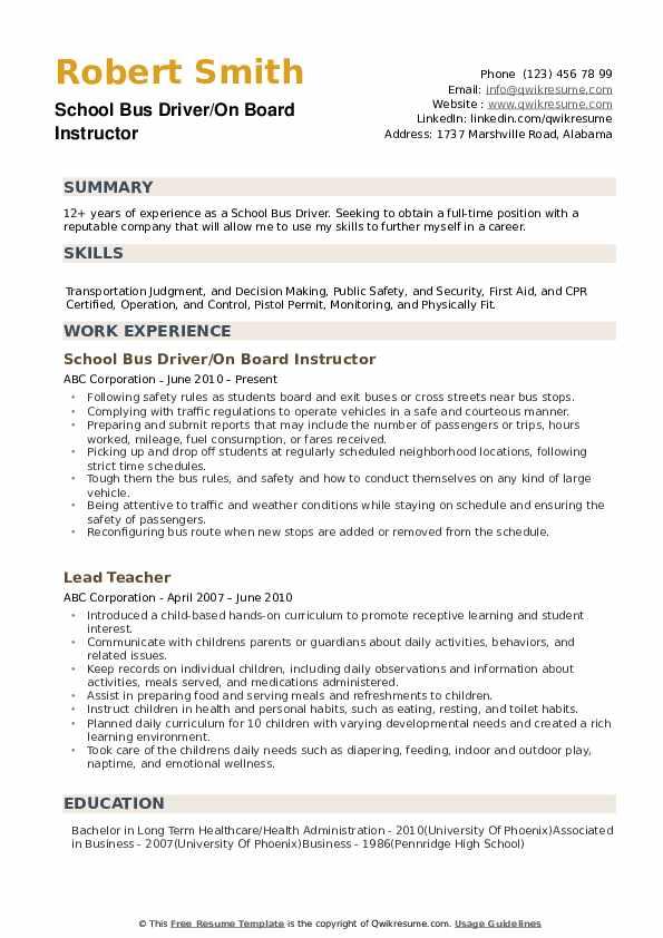 school bus driver resume samples
