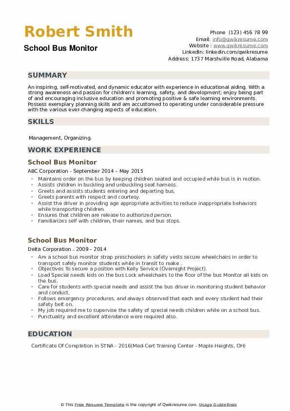 School Bus Monitor Resume example