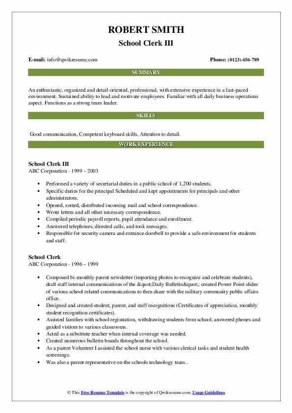 School clerk resume examples argumentative definition essay sample