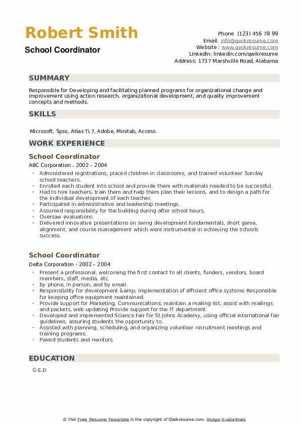 School Coordinator Resume example