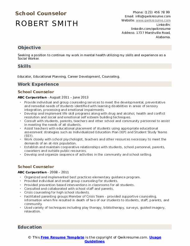School Counselor Resume Samples Qwikresume