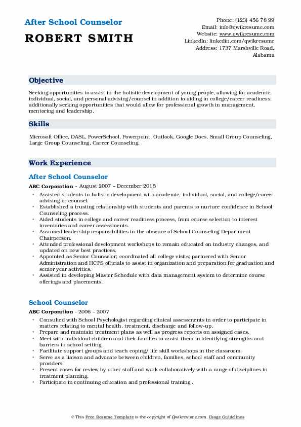 After School Counselor Resume Example