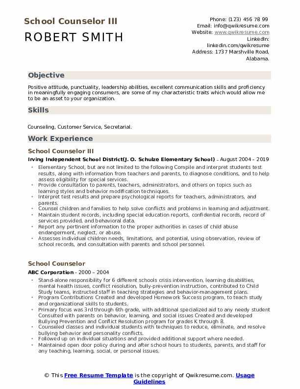School Counselor III Resume Example