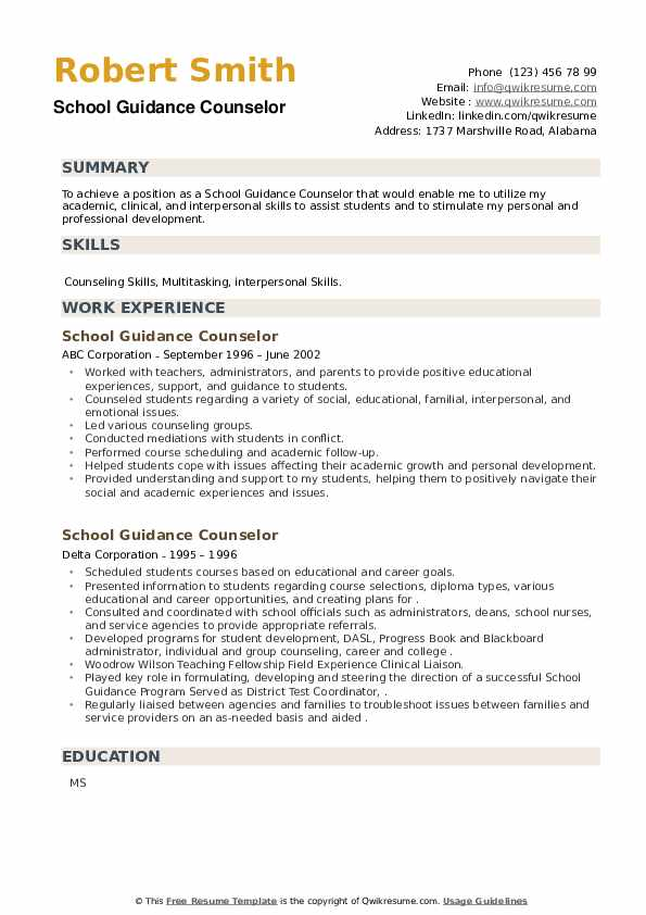 School Guidance Counselor Resume example