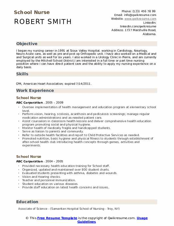 School Nurse Resume Samples Qwikresume