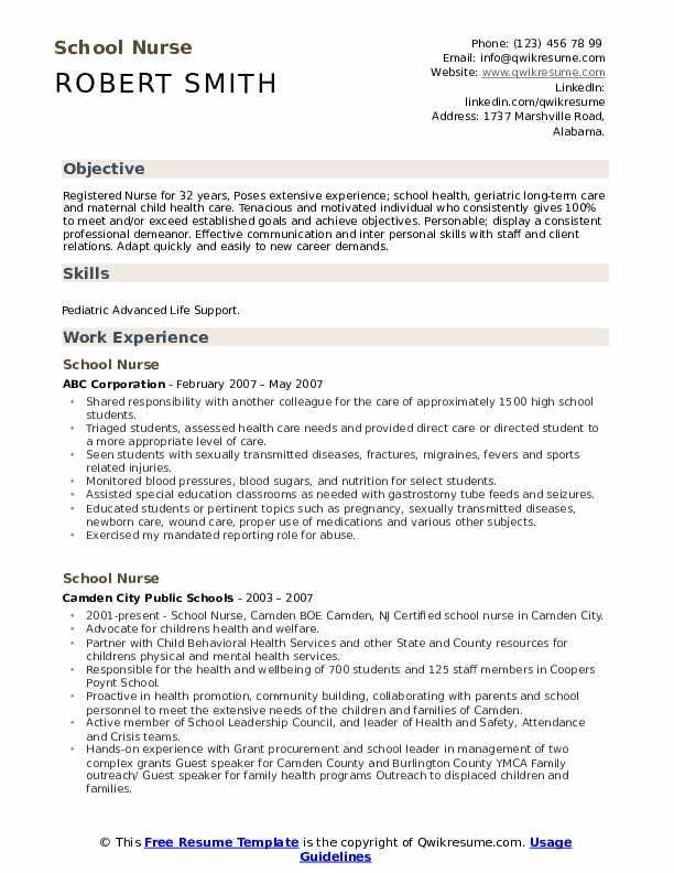 Travel Nurse Resume example
