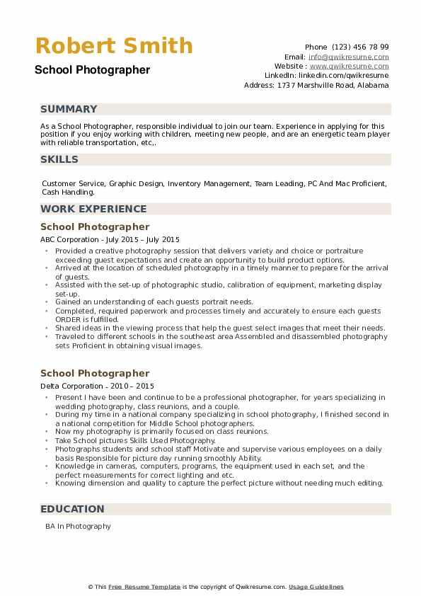 School Photographer Resume example