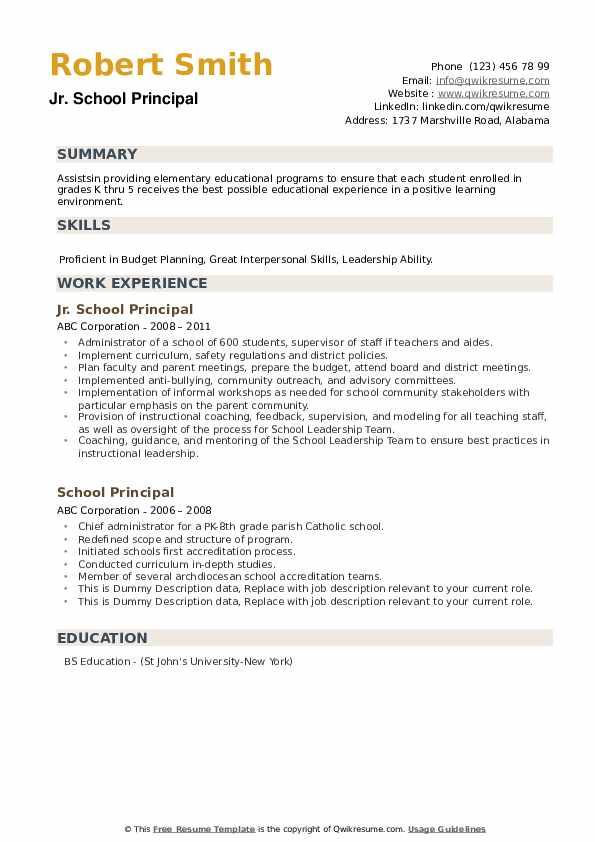 School Principal Resume example
