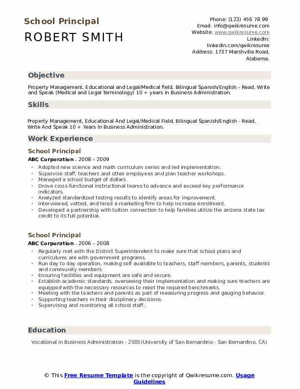 School Director Resume example
