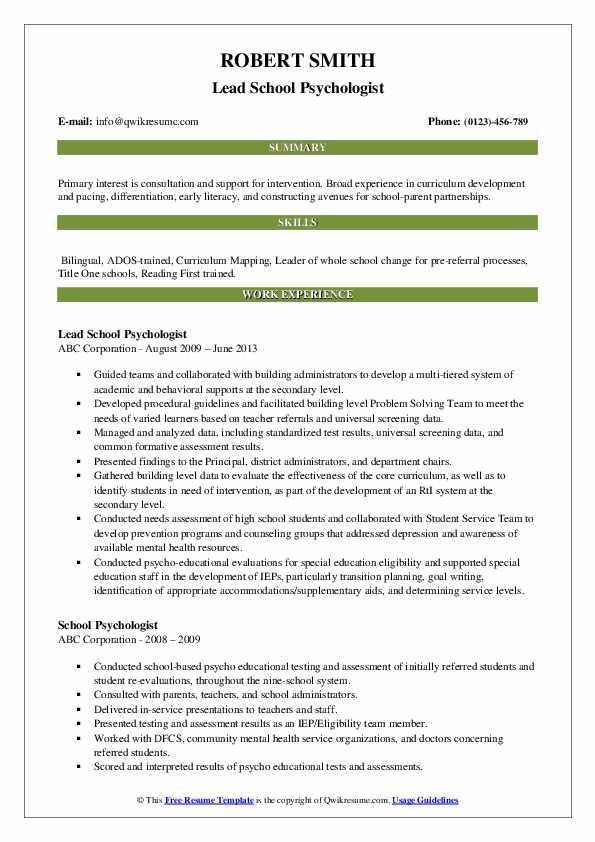 Lead School Psychologist Resume Model