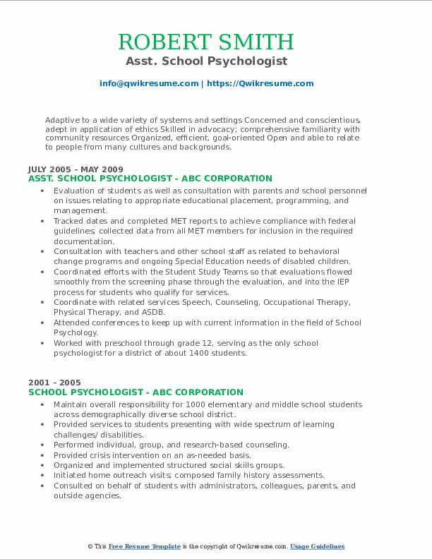 School Psychologist Resume Samples Qwikresume