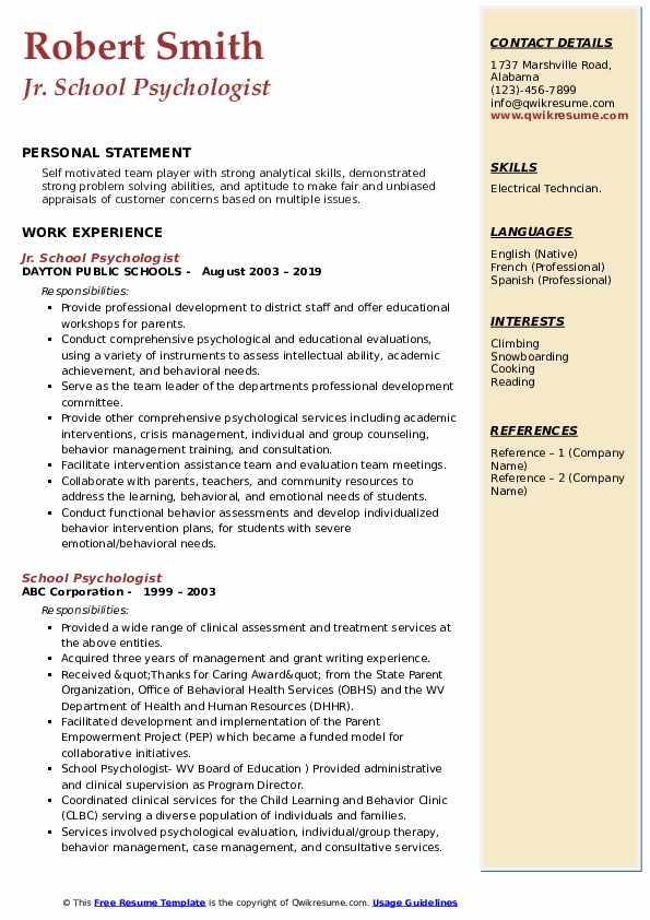 Jr. School Psychologist Resume Format