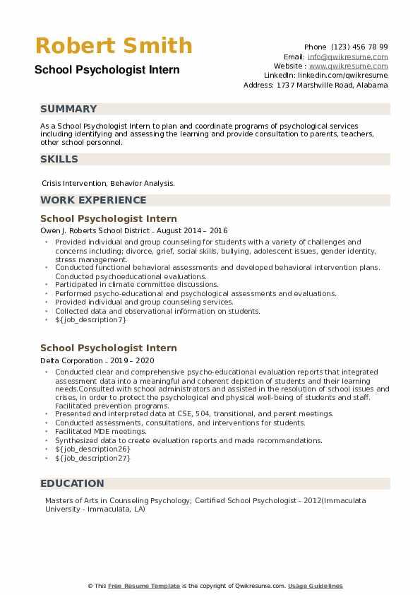 School Psychologist Intern Resume example