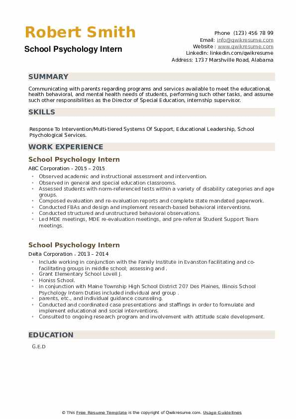 School Psychology Intern Resume example
