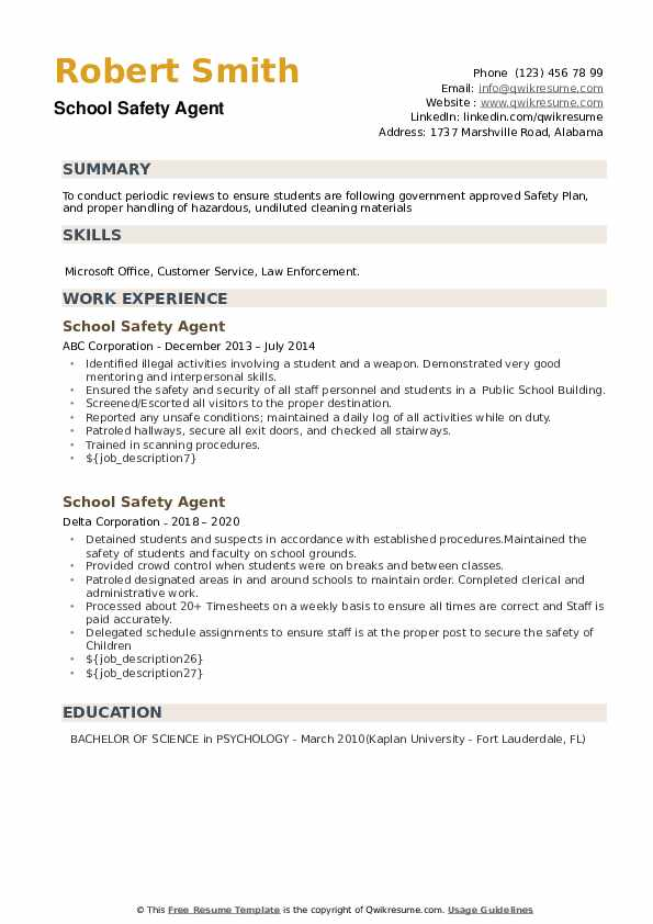 School Safety Agent Resume example