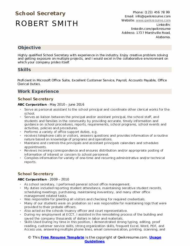 School Secretary Resume Samples Qwikresume
