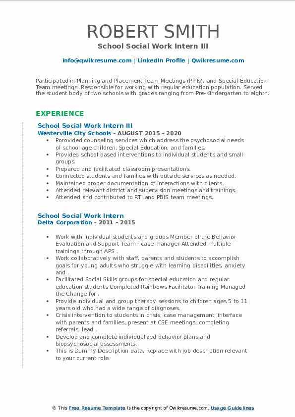 school social work intern resume samples  qwikresume