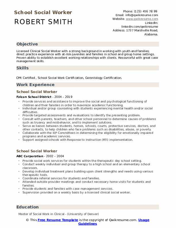 School Social Worker Resume Samples | QwikResume