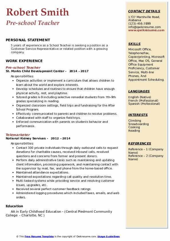school teacher resume samples