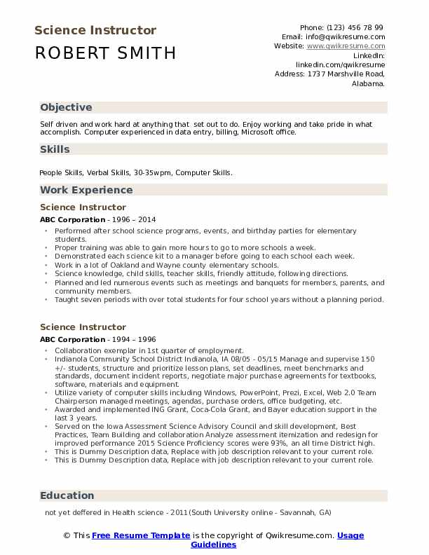 Science Instructor Resume example