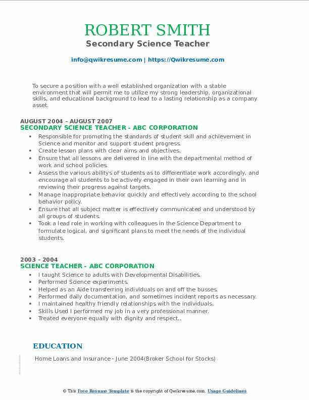 Secondary Science Teacher Resume Format