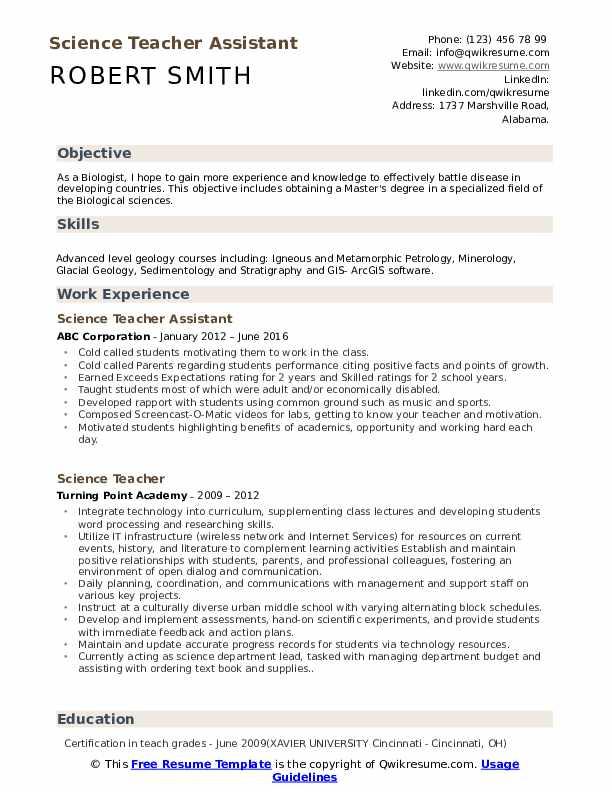 Science Teacher Assistant  Resume Format