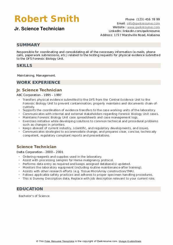Science Technician Resume example
