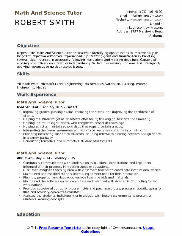 Math And Science Tutor Resume Format