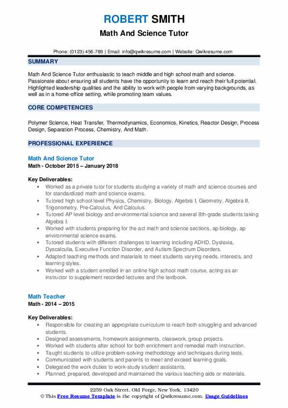 Math And Science Tutor Resume Model