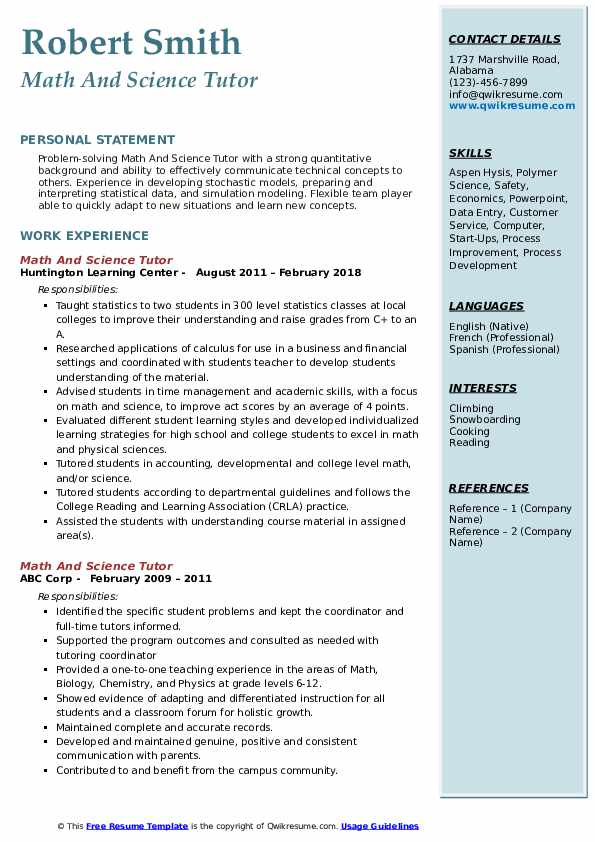 Math And Science Tutor Resume Example