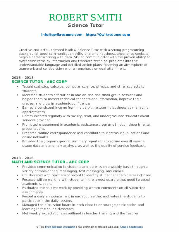 Science Tutor Resume Format